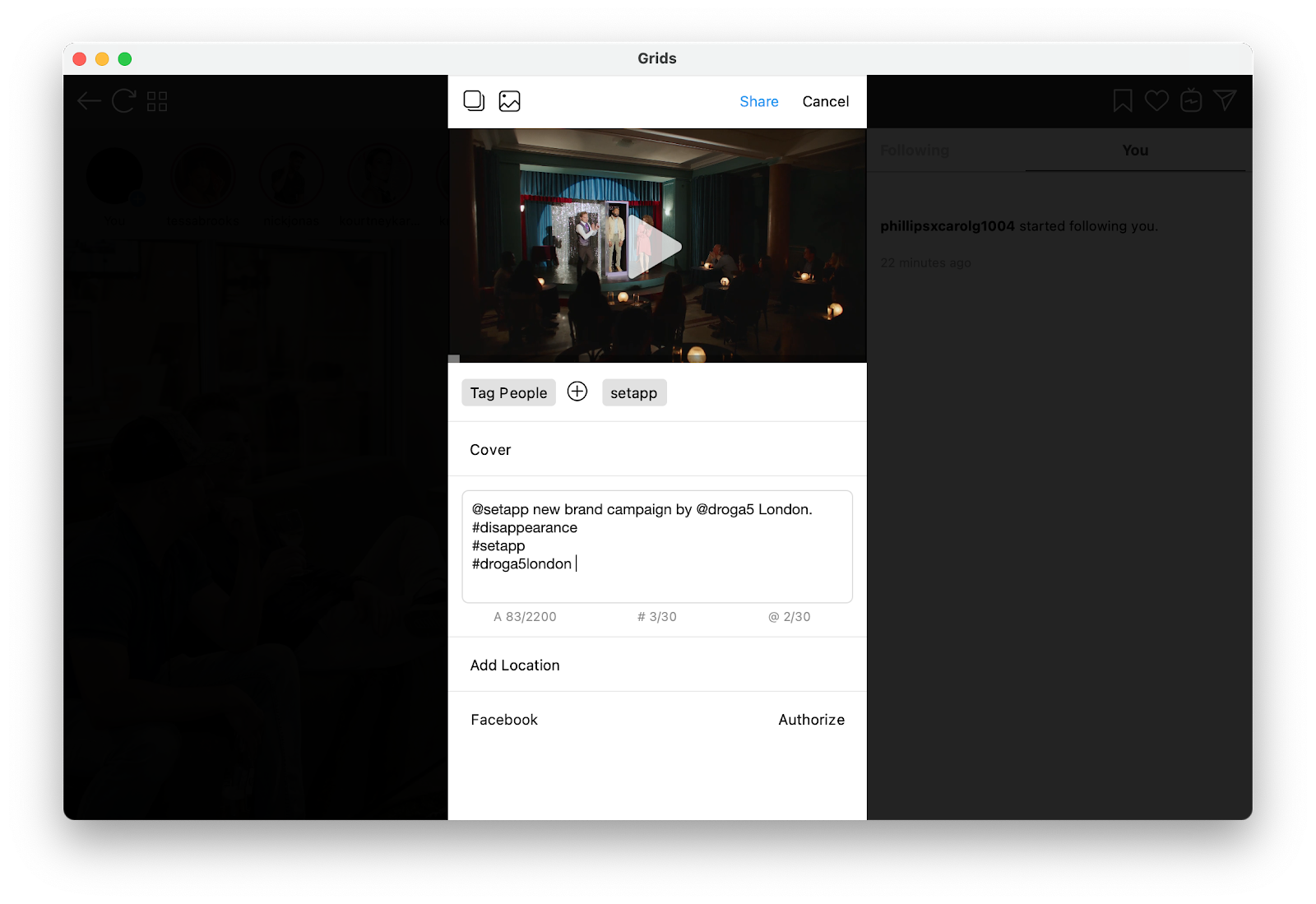 Upload video to Instagram from a Mac