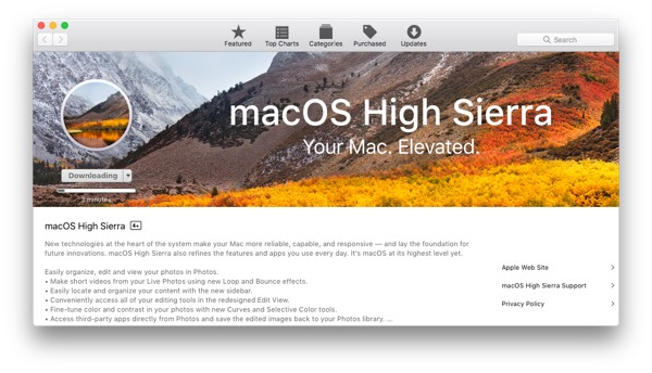 macOS High Sierra downloading