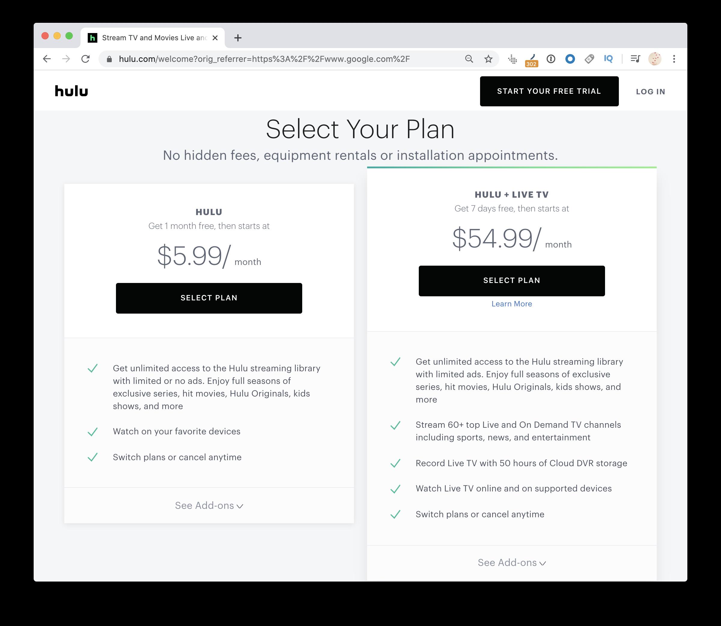 Hulu pricing plans