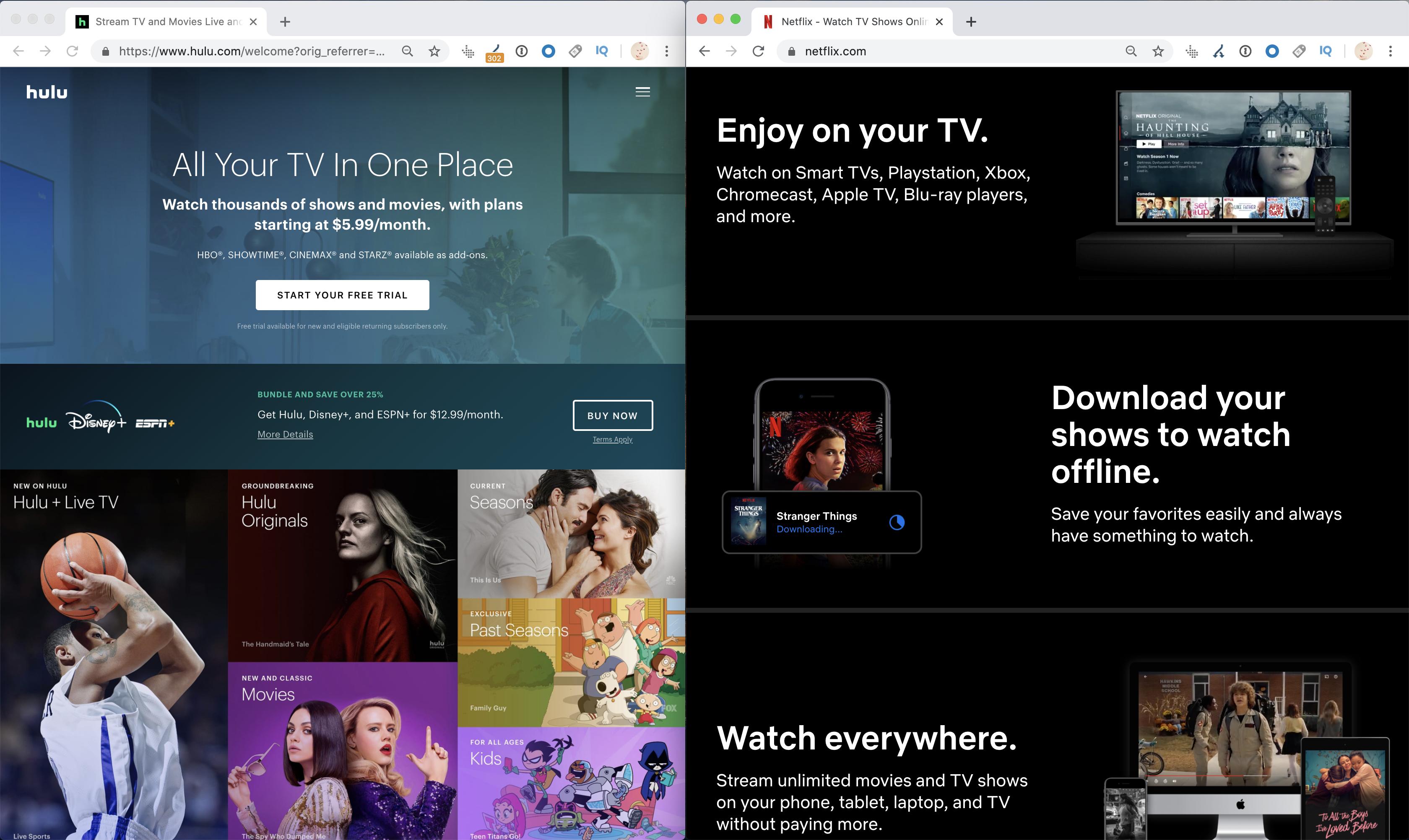 محتوى Hulu VS Netflix