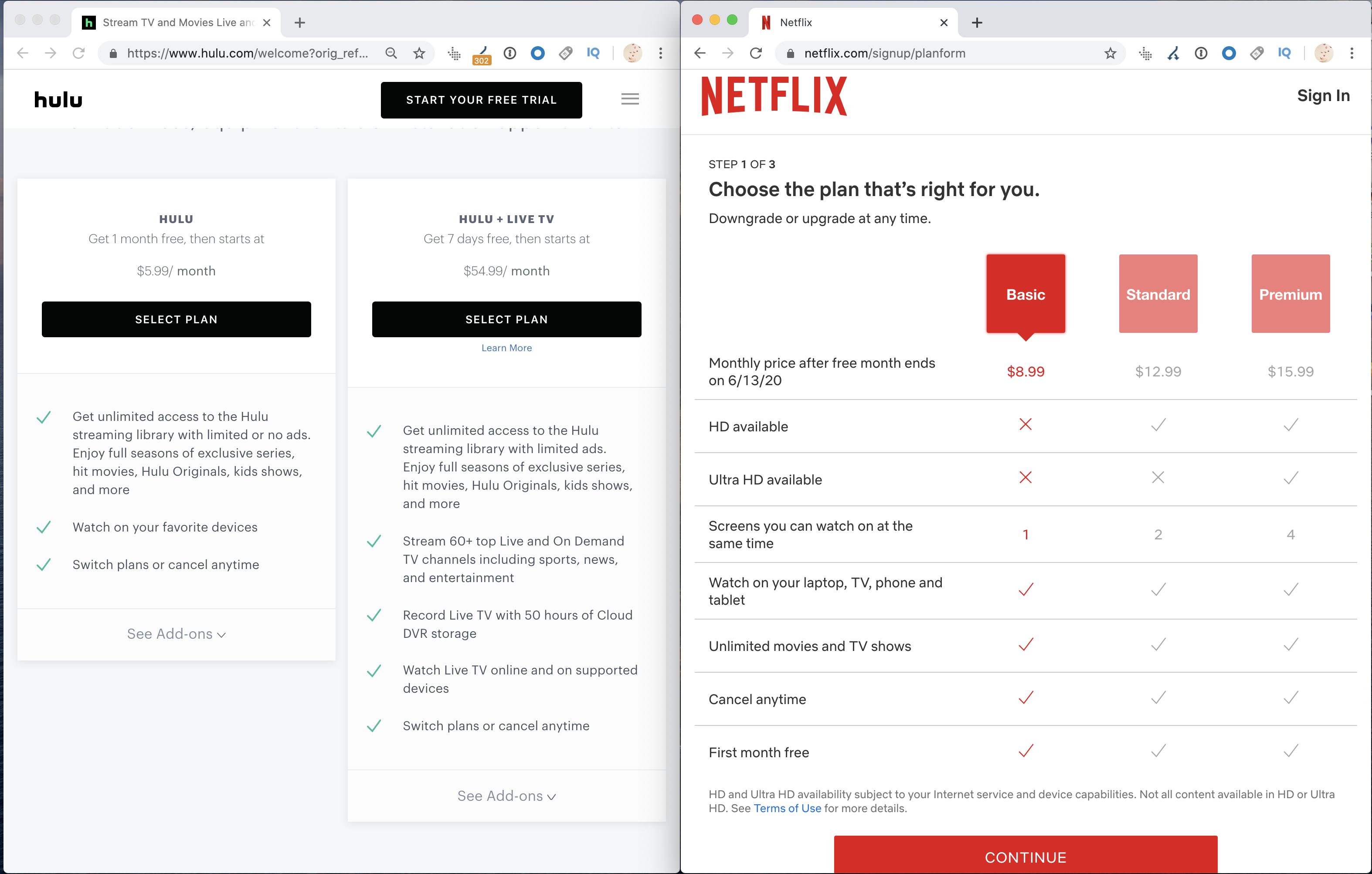 خطط أسعار Hulu VS Netflix