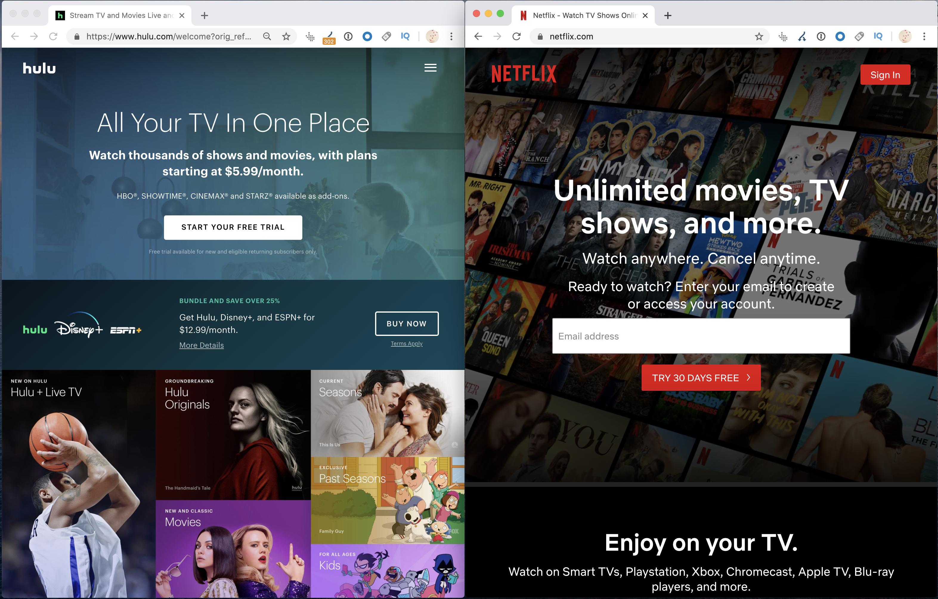 Hulu VS Netflix websites