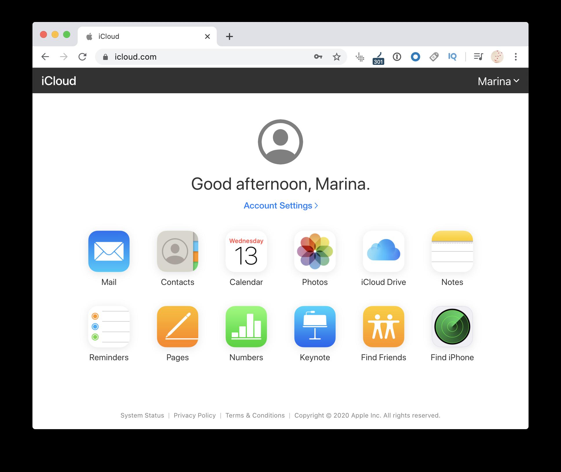 iCloud Drive via browser