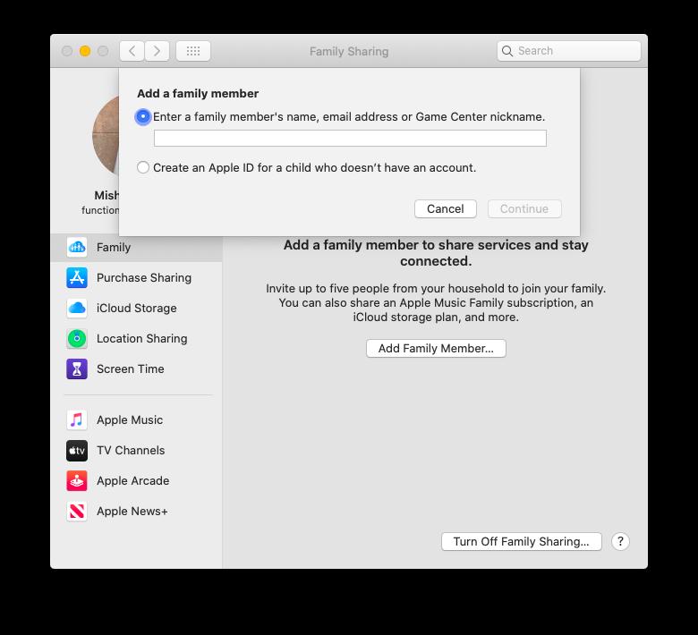 iCloud Family Sharing Apple