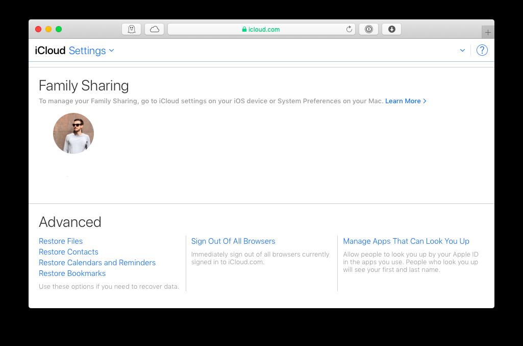 iCloud restore files web