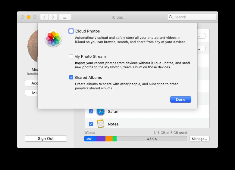 iCloud turn on mac