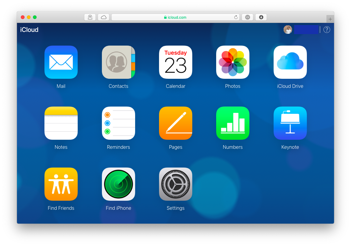 iCloud web apps