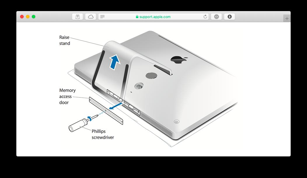 Upgrade RAM on iMac | via Apple.com