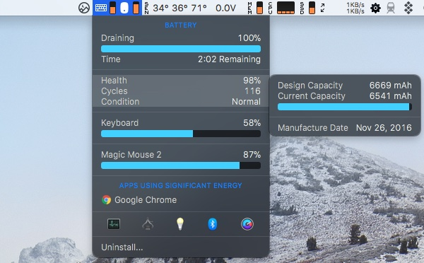 Get battery info with iStat Menus app