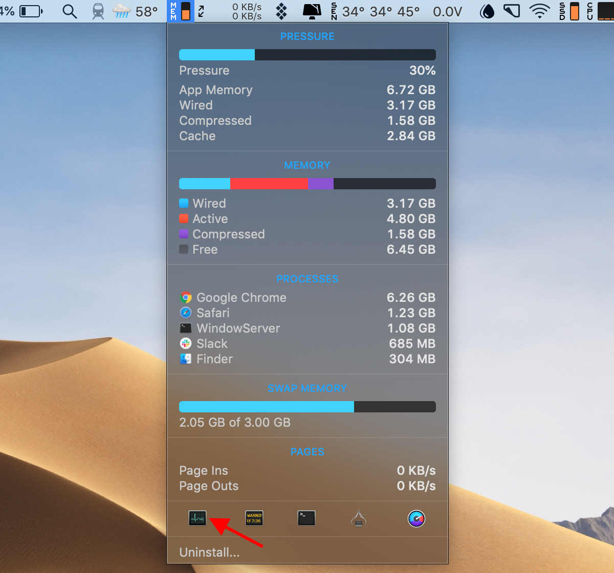 launch Activity Monitor from the iStat Menus