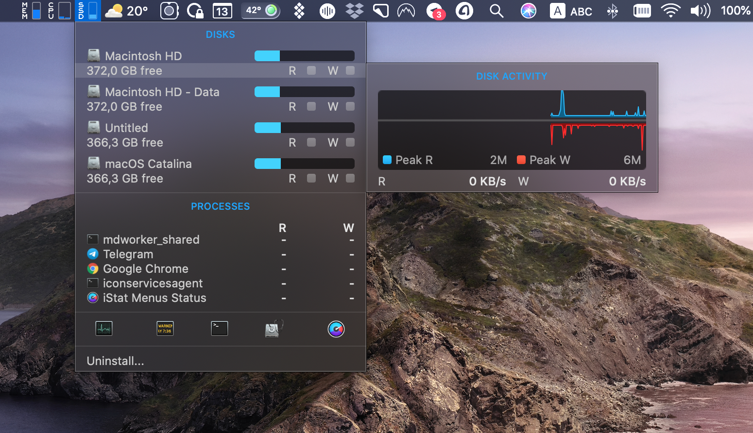 iStat Menus system performance monitoring