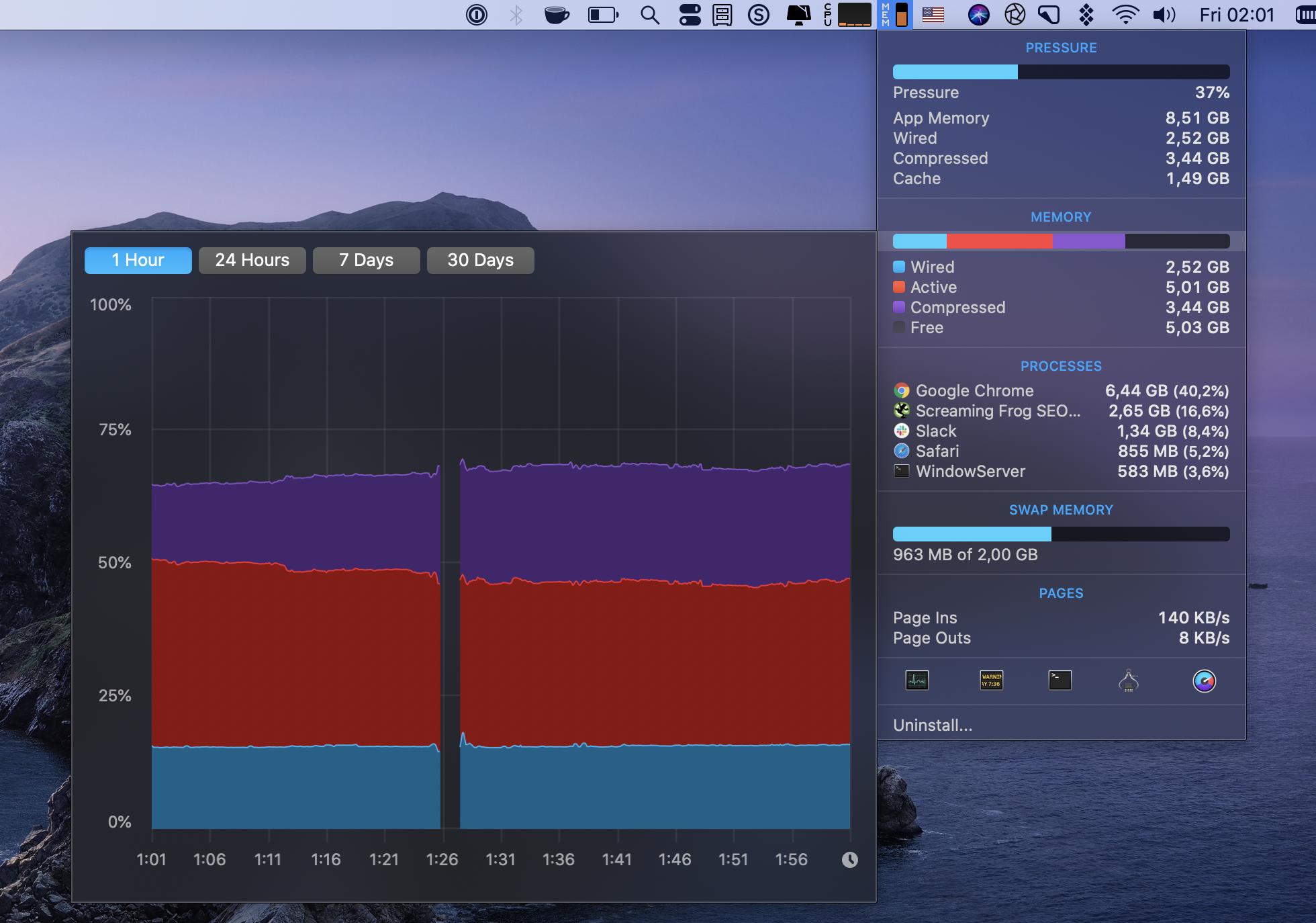 Check memory in iStat Menus monitor