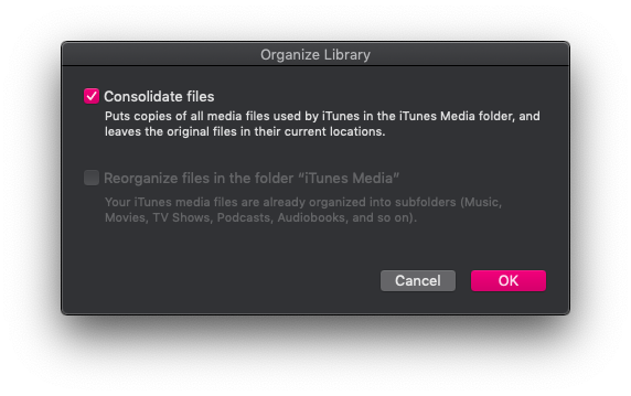 iTunes consolidate library mac