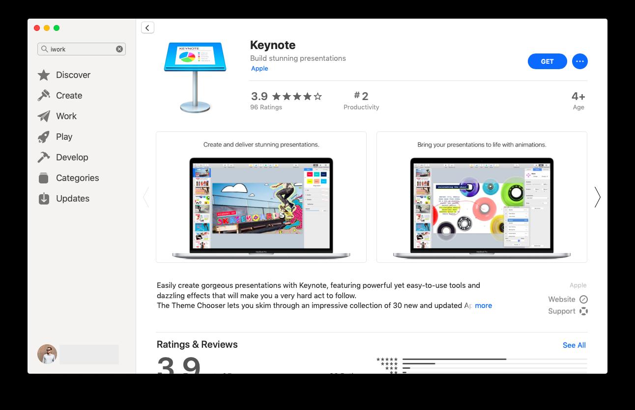 iwork mac app store