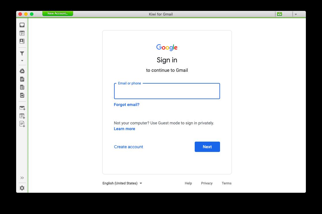 Kiwi Gmail app Mac