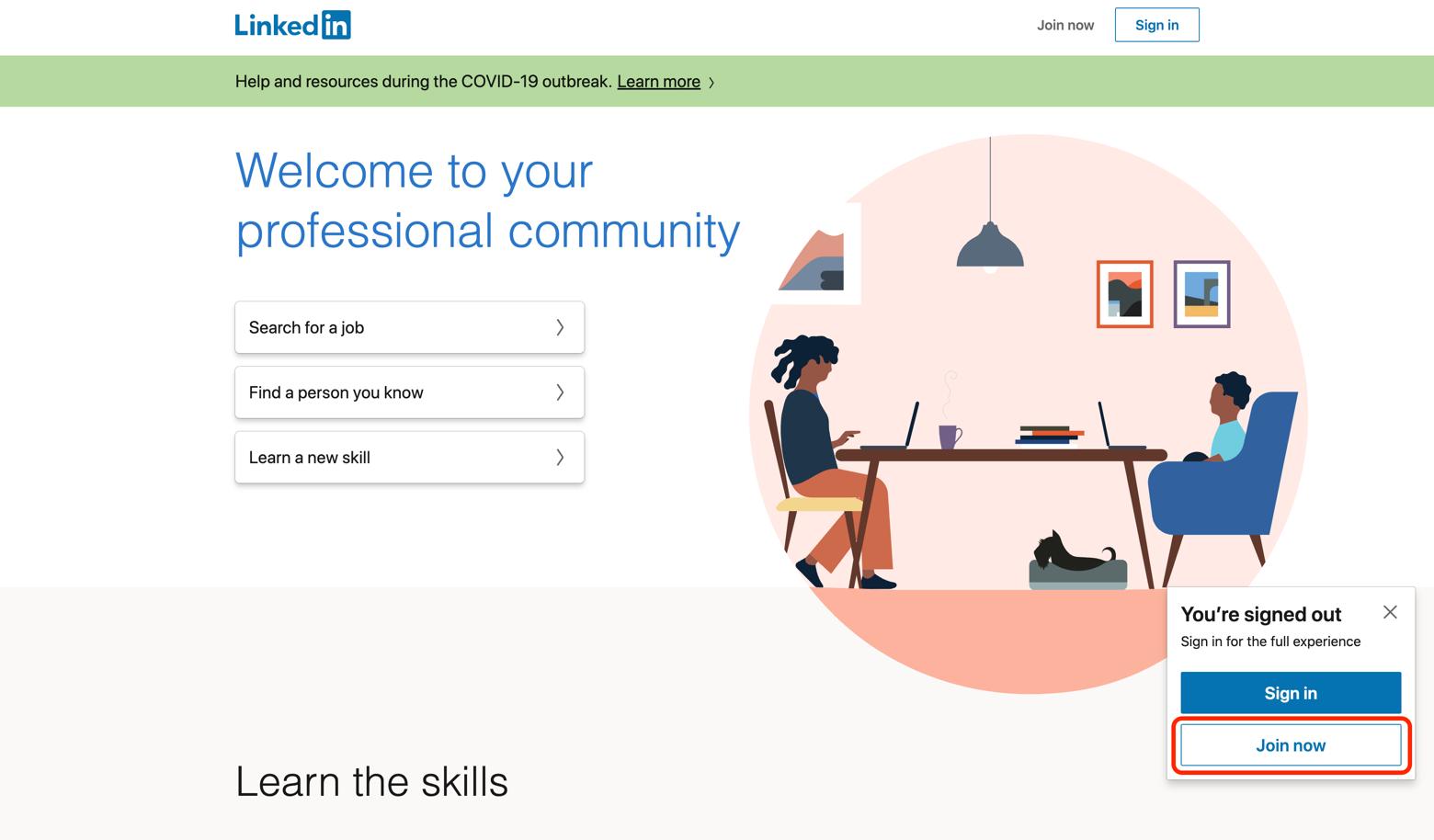 LinkedIn landing page