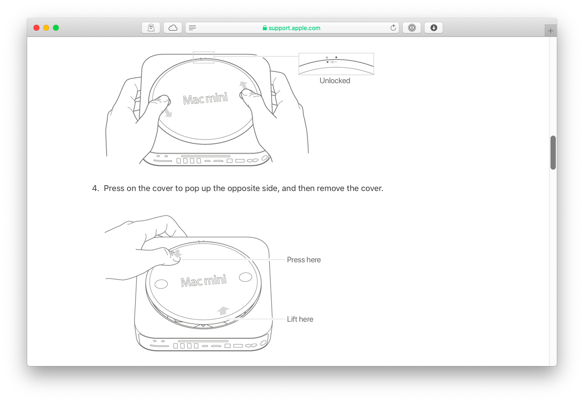 Upgrade RAM on a Mac mini | via Apple.com