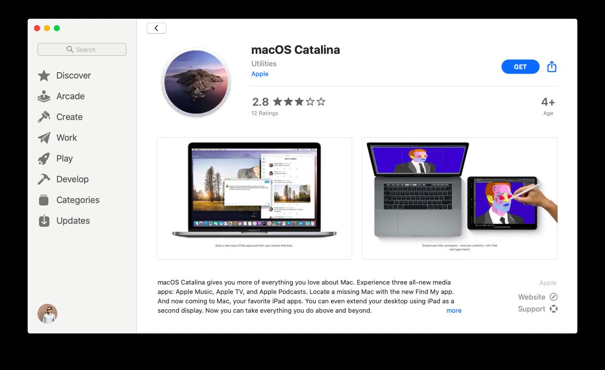 macOS Catalina App Store update Mac