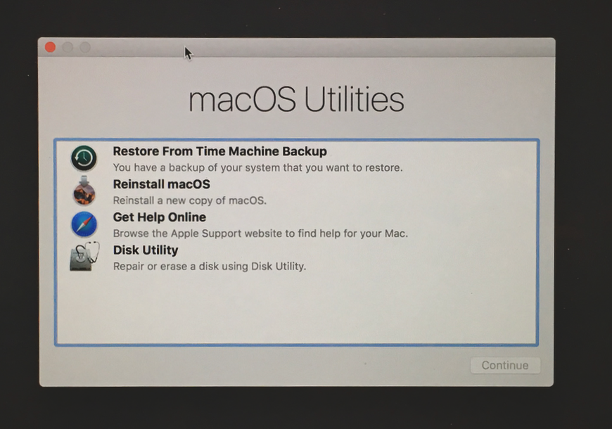 Check disk drive with macOS Utilities