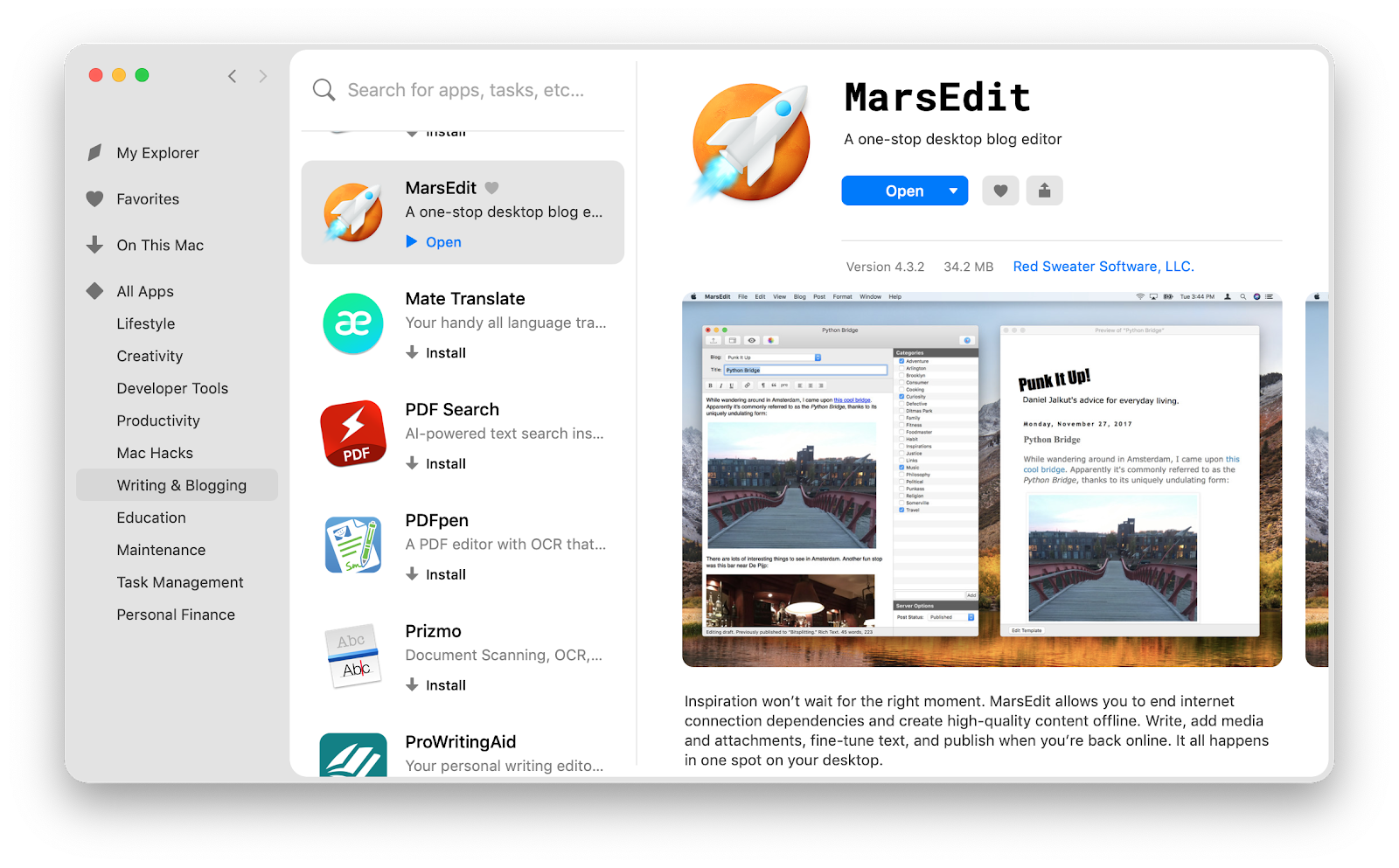 MarsEdit app on Setapp
