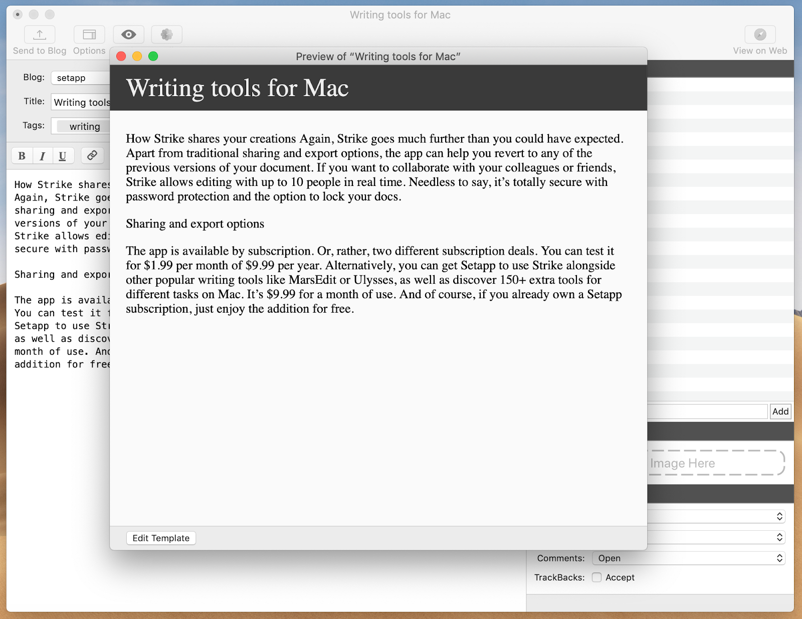 Take notes on a Mac with MarsEdit app