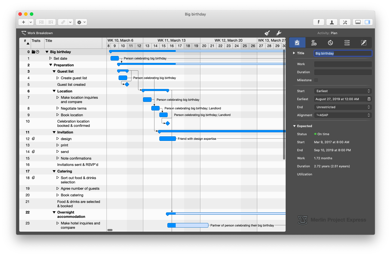 Merlin Project Express management tips Mac