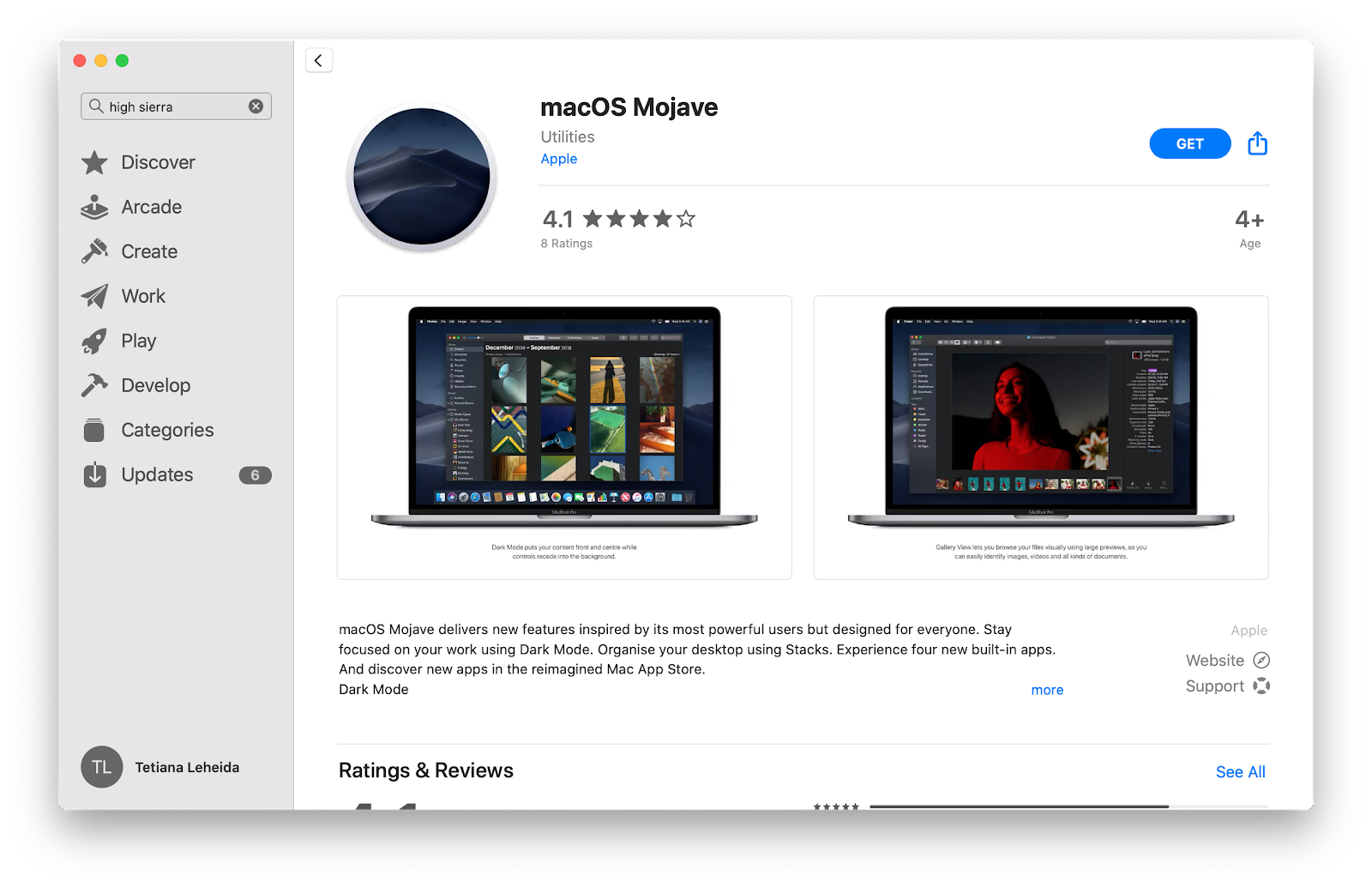 macOS Mojave App Store page