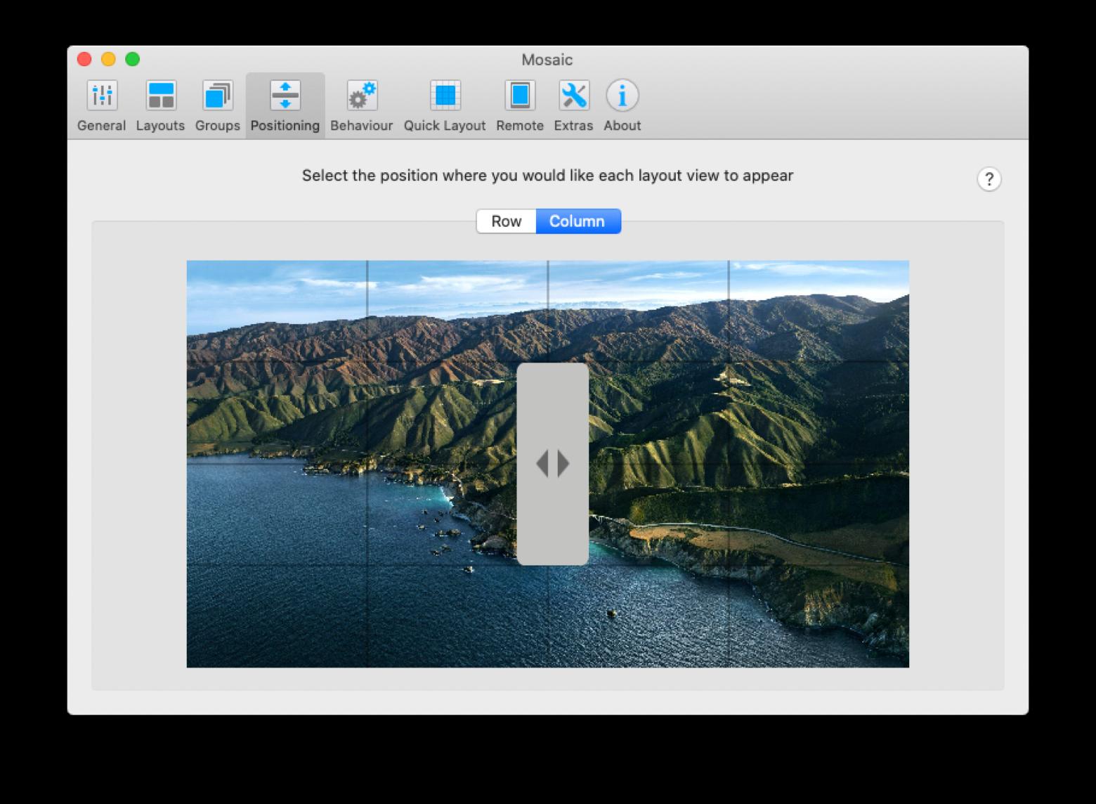 Mosaic layout Mac screen app window