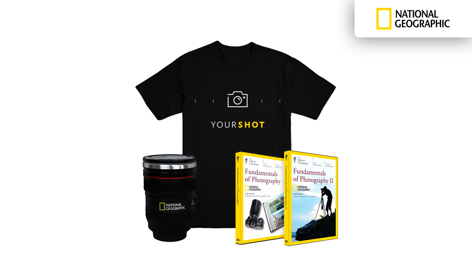 A branded mug, a t-shirt, and two photography courses