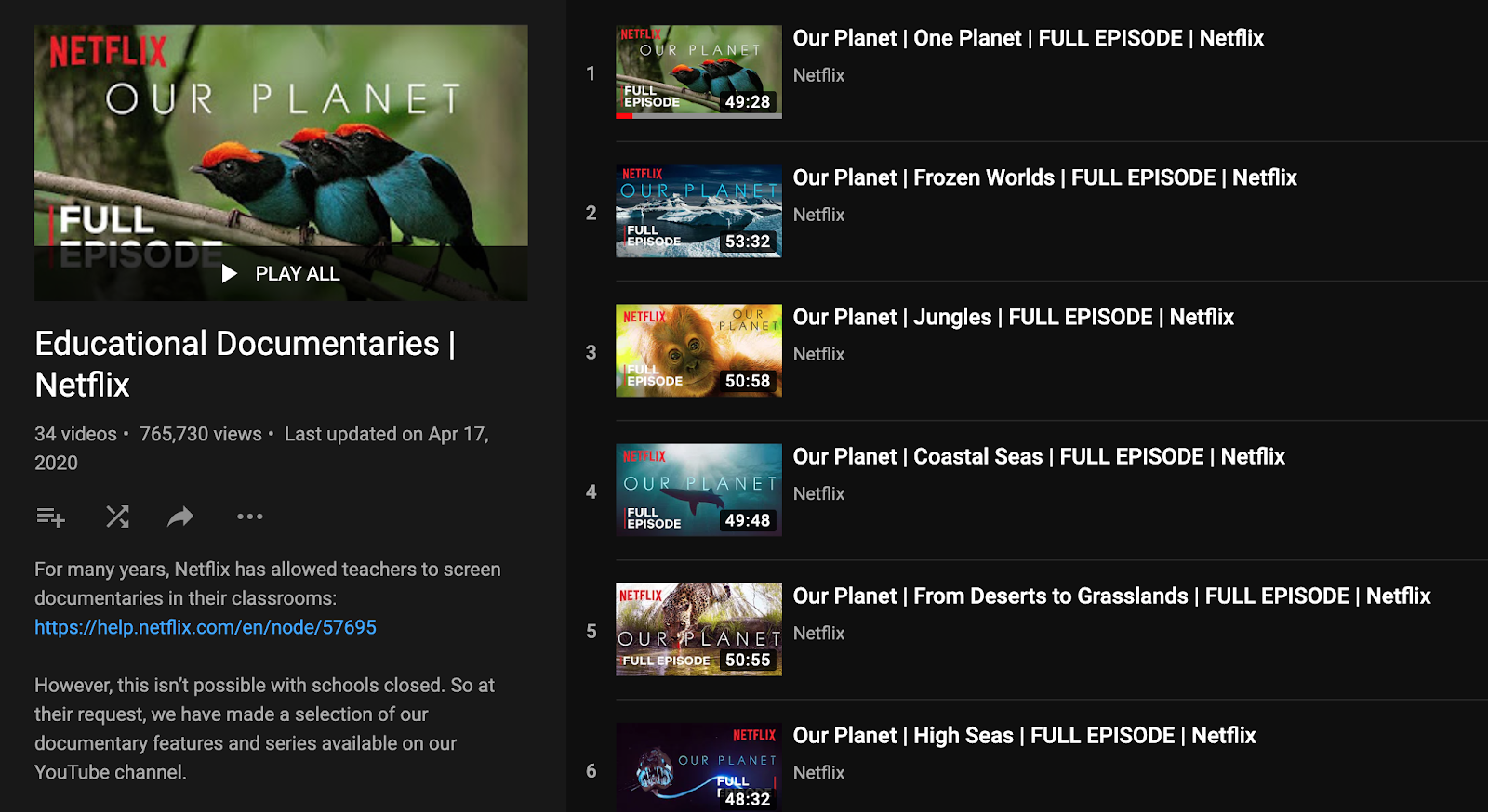 Netflix educational documentaries