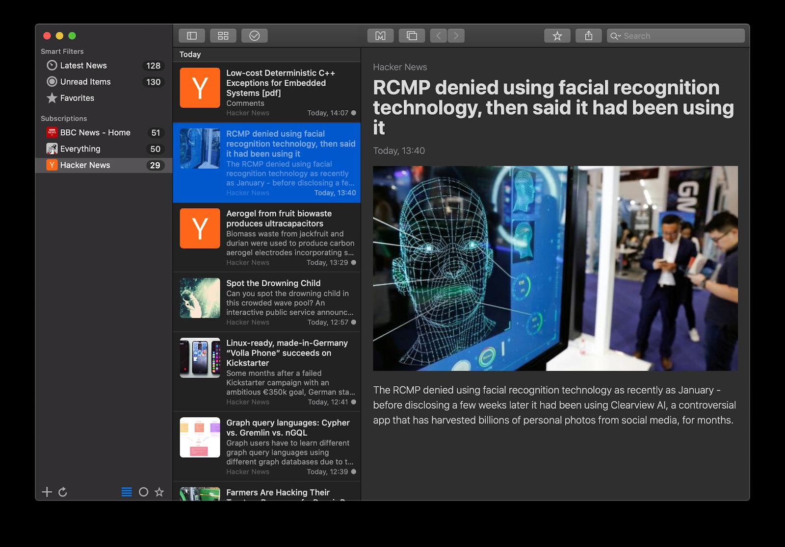 News Explorer dark mode