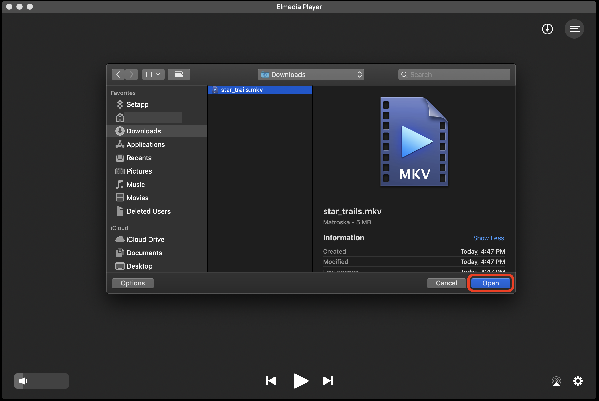 Open MKV files with Elmedia Player