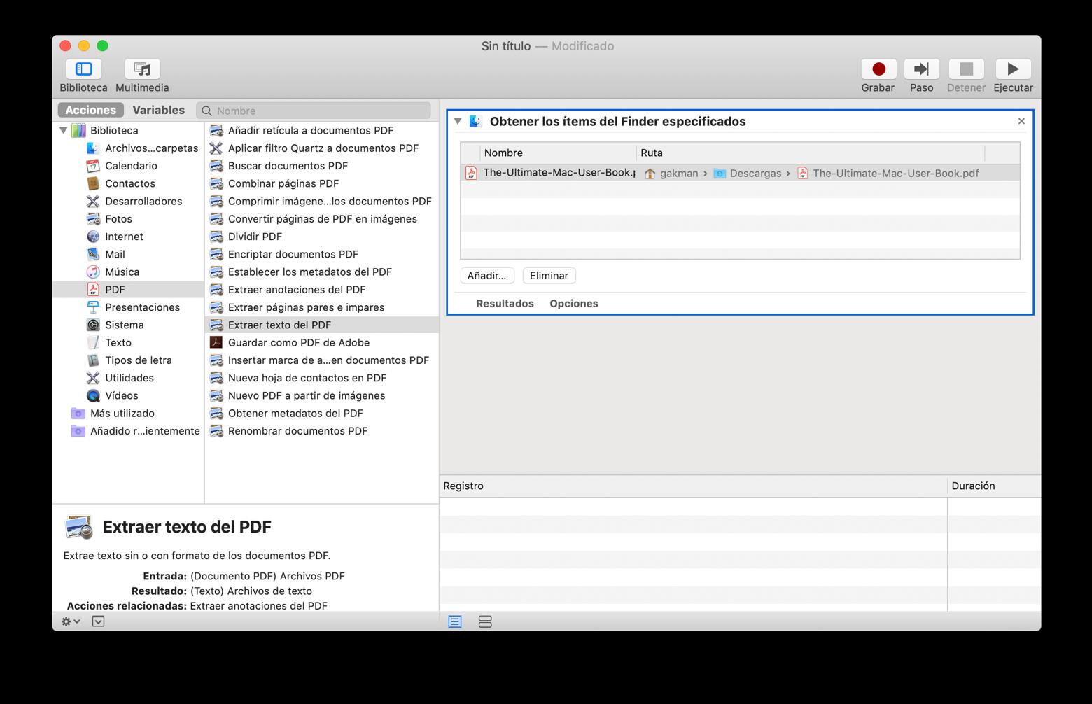 Convertir archivos PDF con Automator