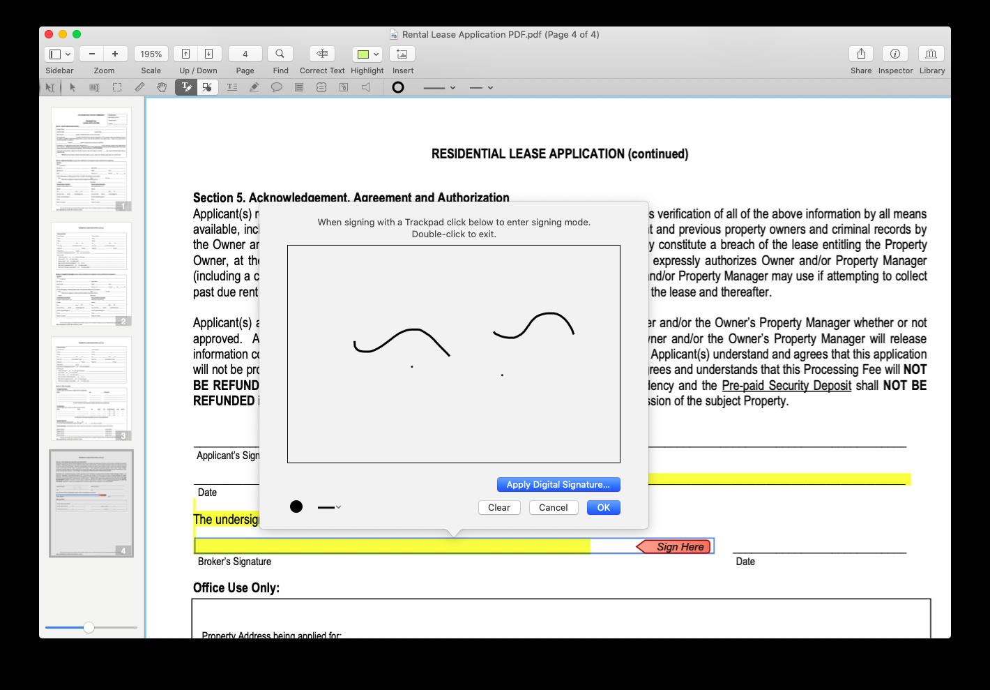 PDFpen use signature Mac PDF