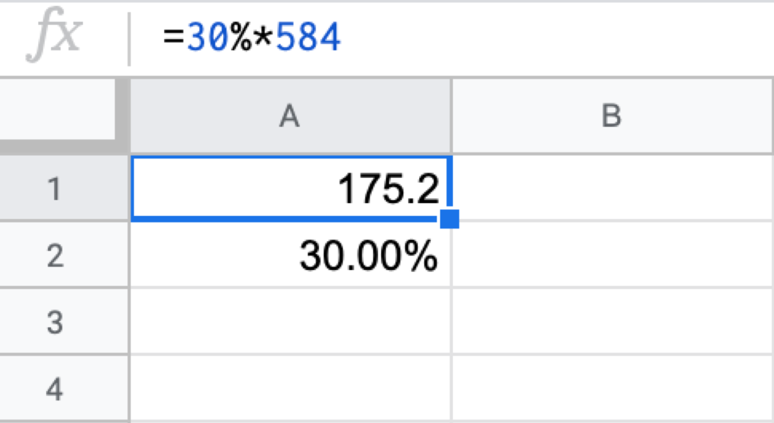 percentage formula Google Sheets