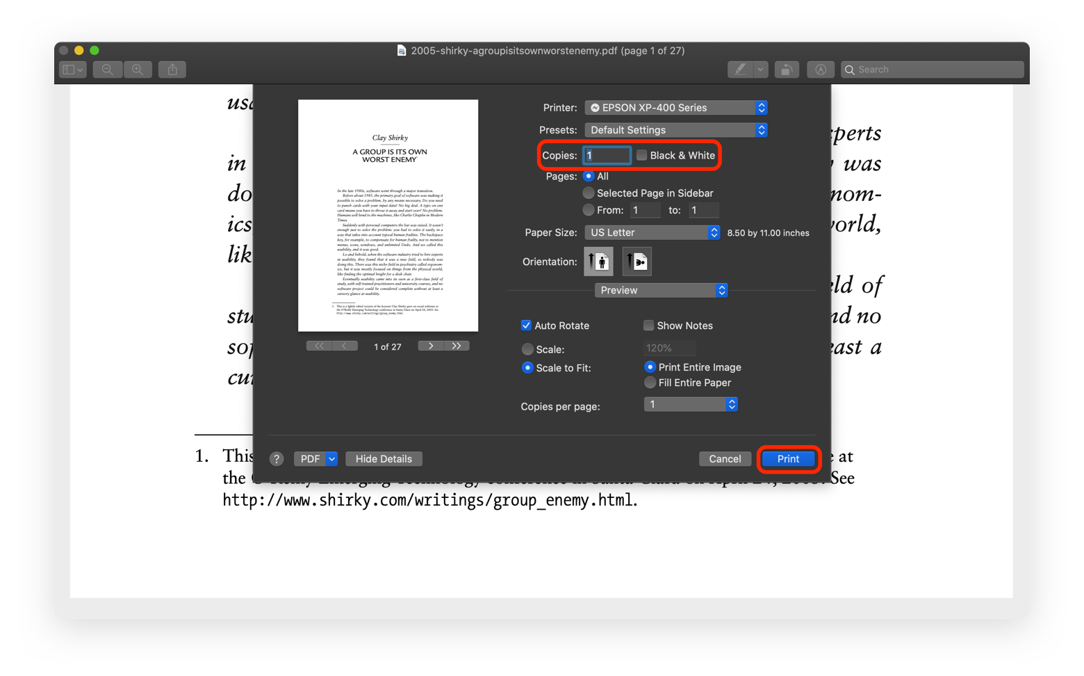 print black and white Preview app Mac