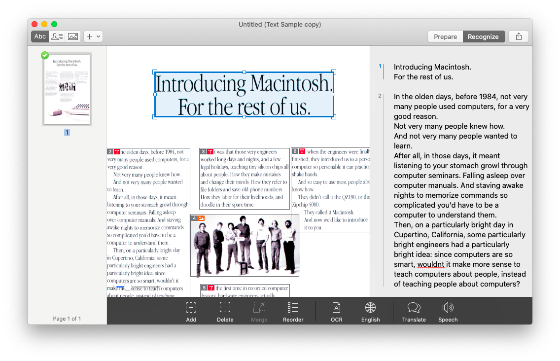 Prizmo PDF edit document Mac OCR