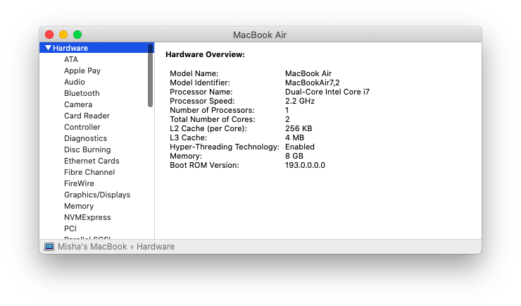 processor hardware CPU MacBook Mac specs
