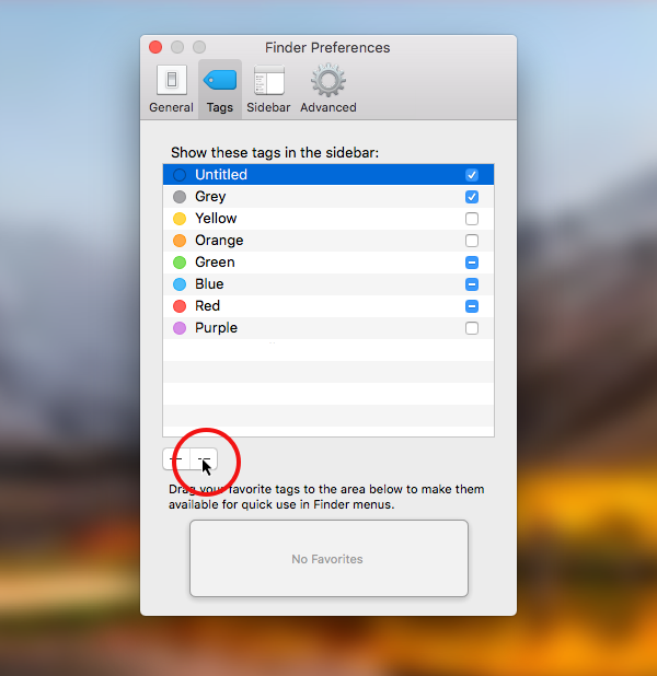remove a tag in macOS