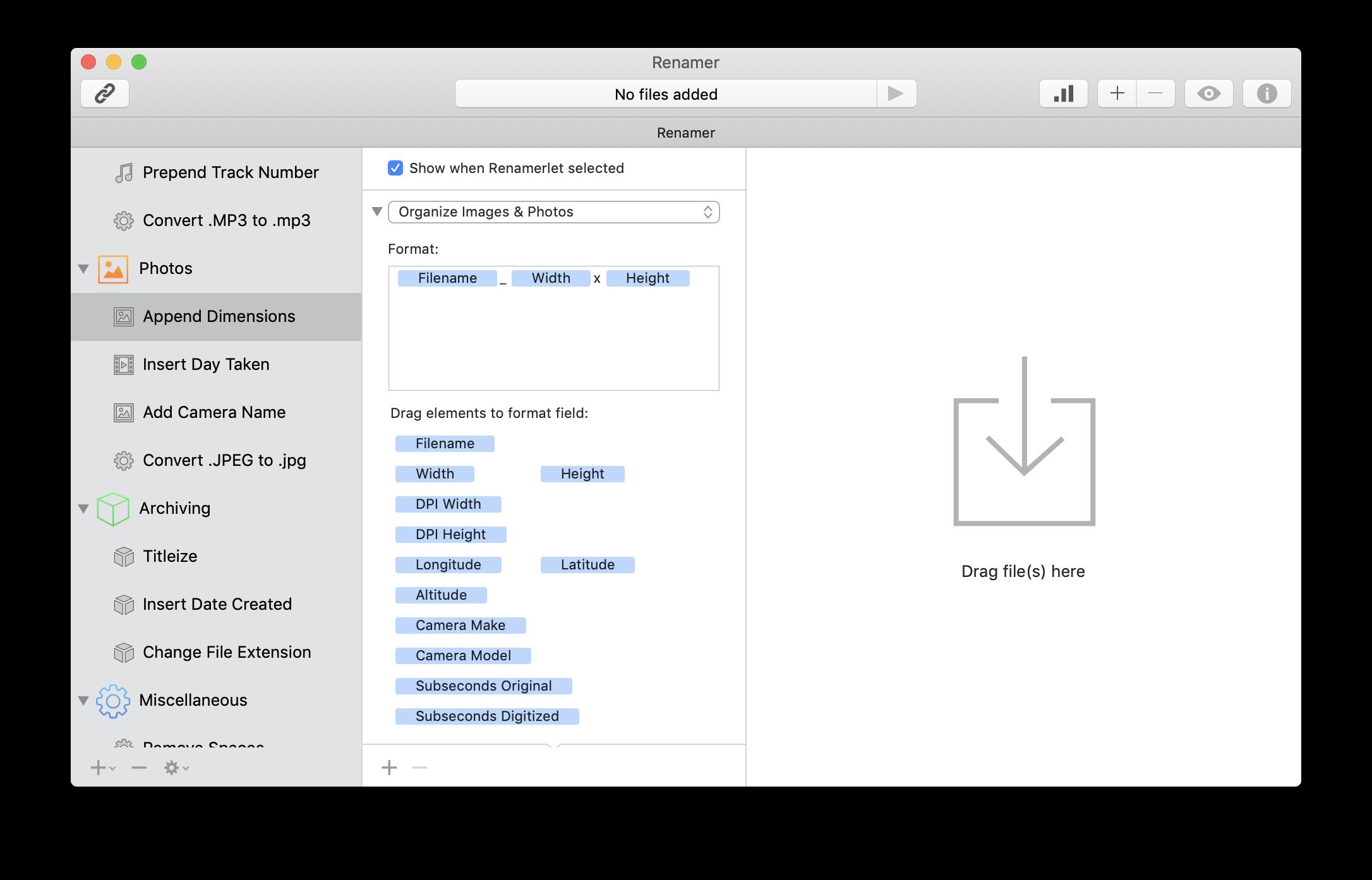 Use Renamer app to organize files