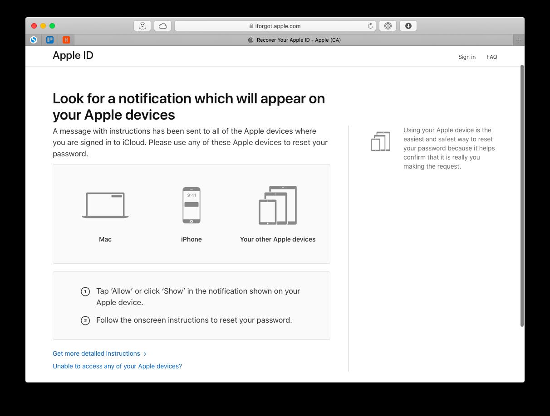 reset password Apple device trusted Mac