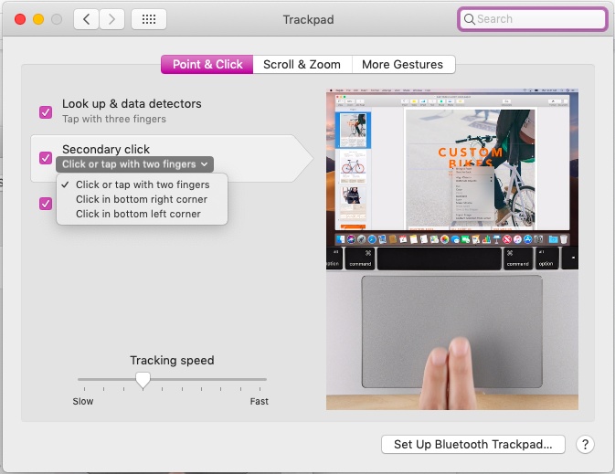 right click on Mac trackpad