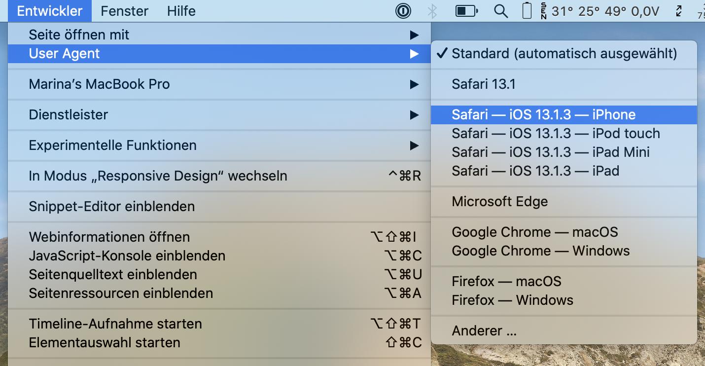 Browser-User-Agent ändern