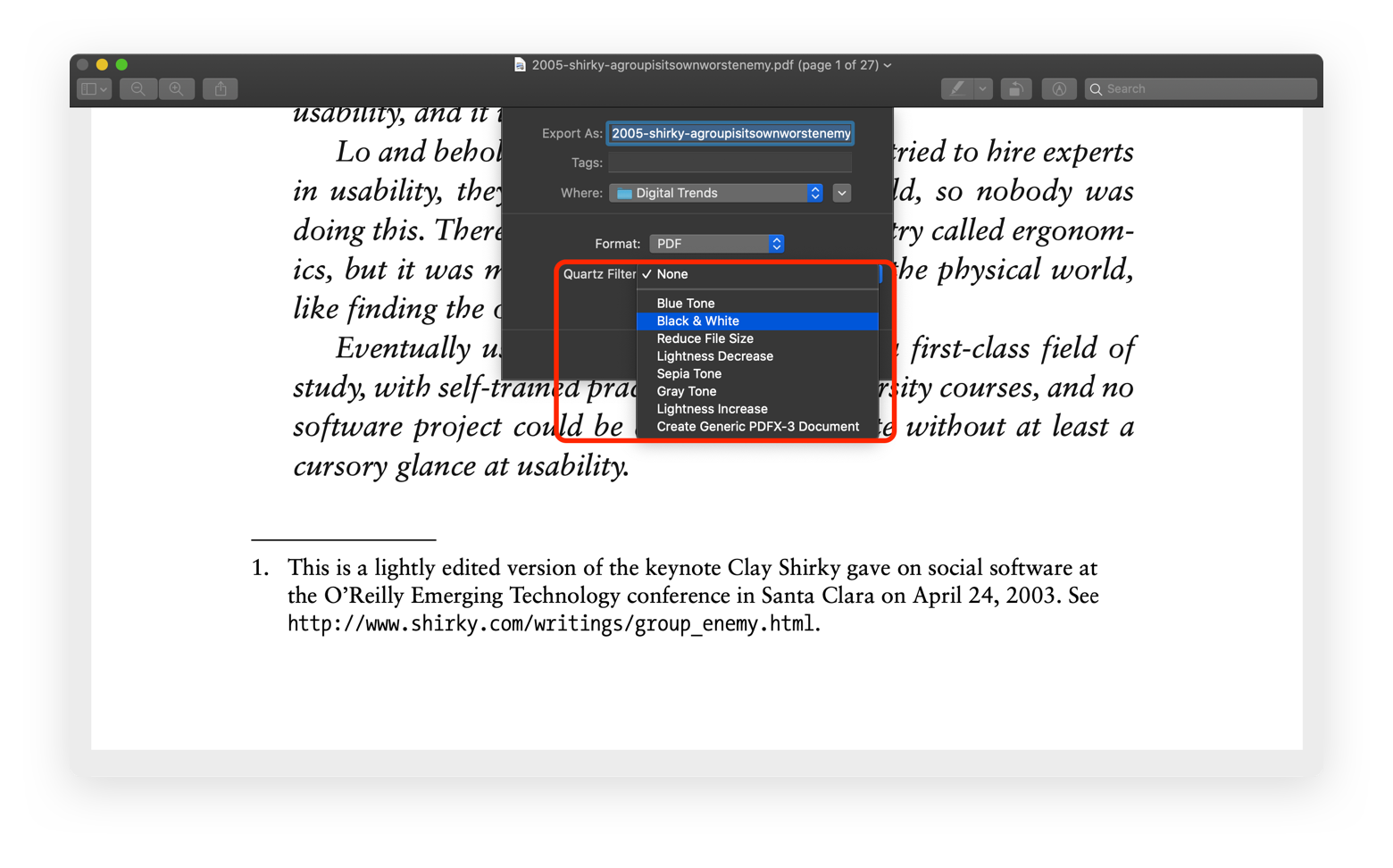 save PDF black and white Preview Mac