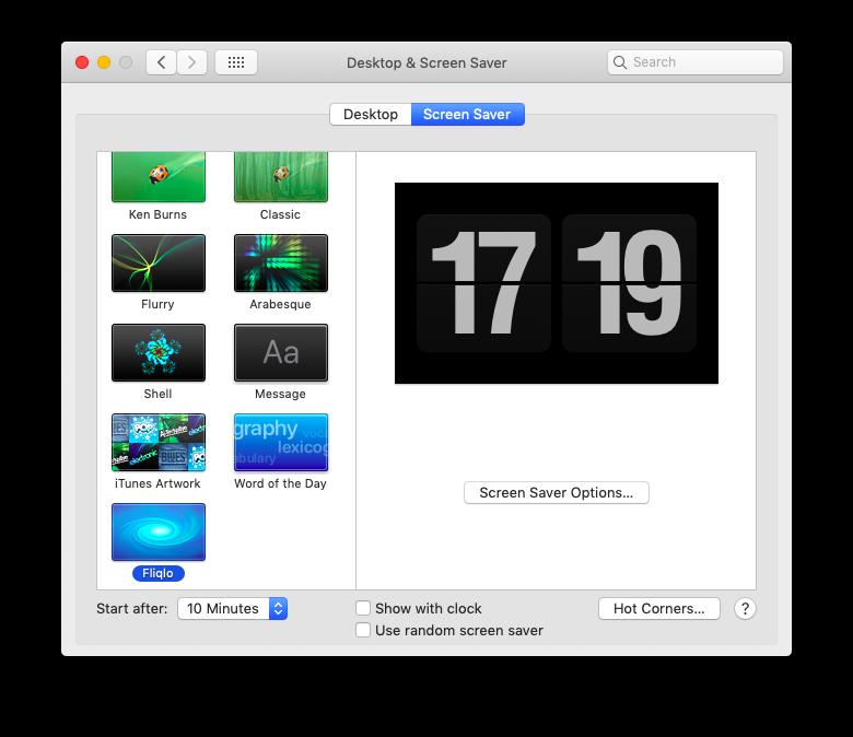 screen saver options