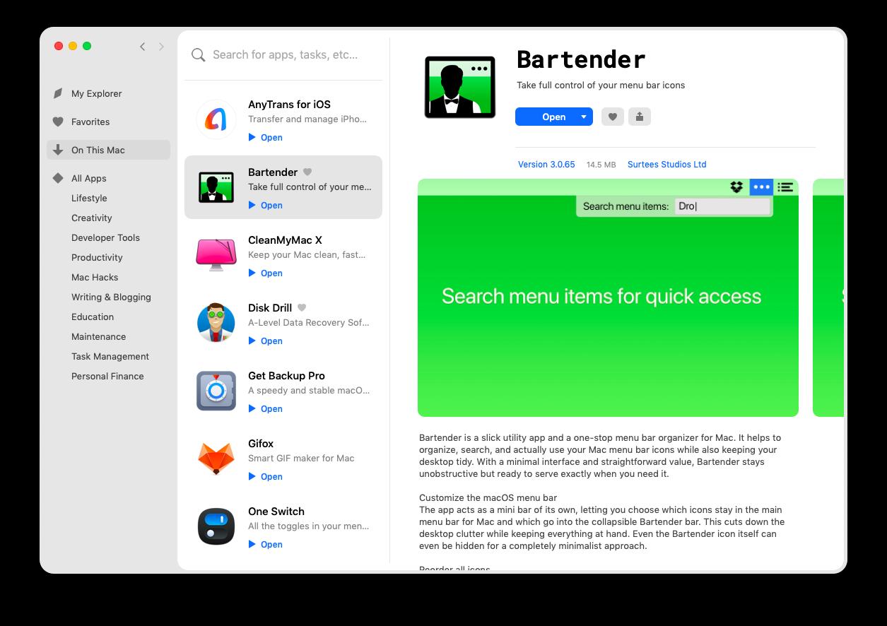 Setapp apps macOS discover