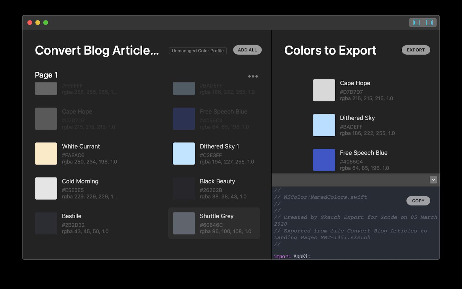 Sketch Export for Xcode Mac app