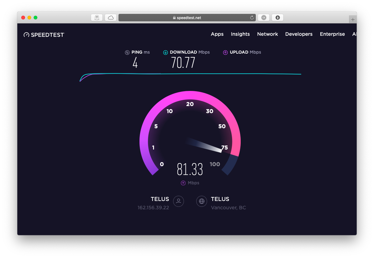 speedtest Mac WiFi signal speed Internet