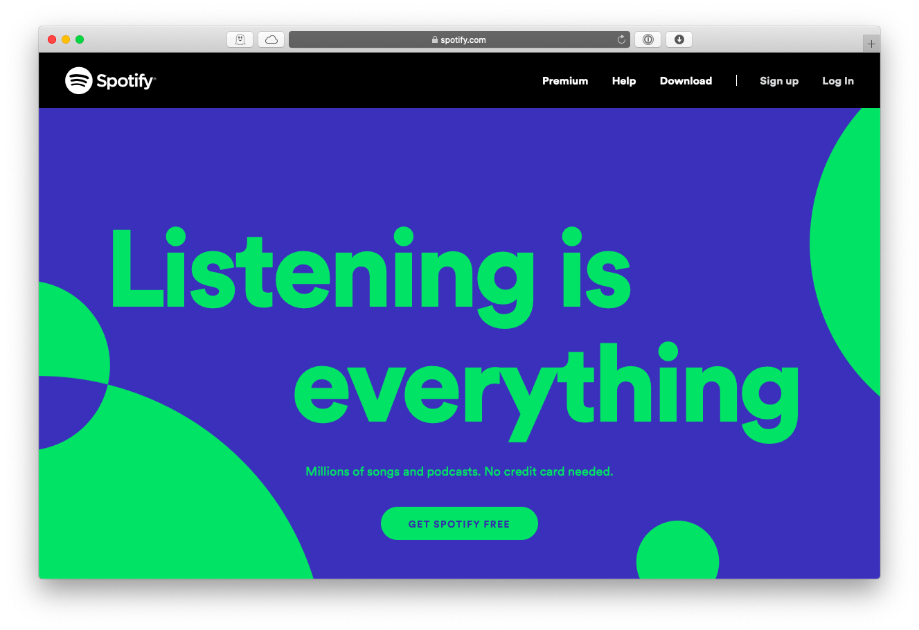 Spotify web music streaming service