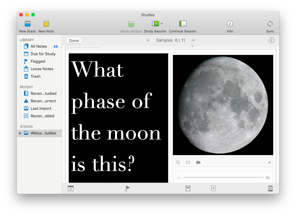 Studies flashcards Mac app